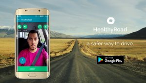 Publicidade da aplicação HealthyRoad (imagem de http://www.healthyroad.pt)